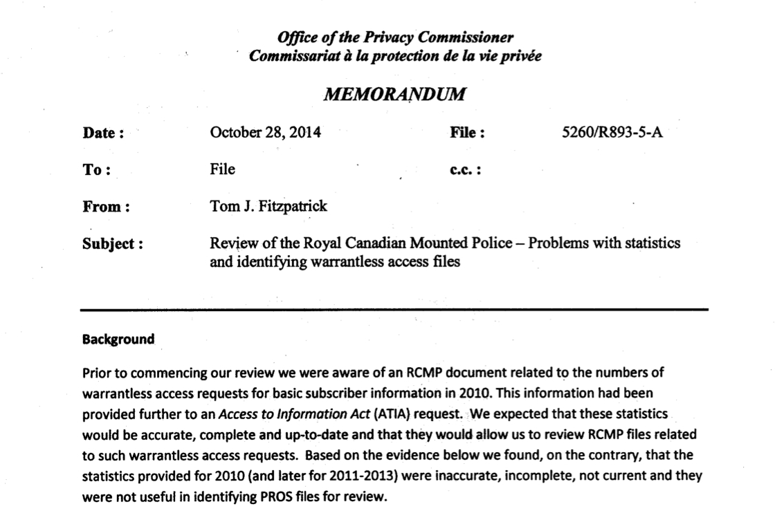 secret memo reveals rcmp records on requests for subscriber data secret memo reveals rcmp records on requests for subscriber data inaccurate and incomplete michael geist