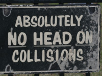 Absolutely no head on collisions by Shawn Rossi (CC BY 2.0) https://flic.kr/p/4fZHVB