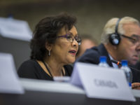 Ms. Hedy Fry (MP, Canada) speaks October 4, 2014 (photo courtesy of the Swiss Parliament/Fabio Chironi) by OSCE Parliamentary Assembly (CC BY-SA 2.0) https://flic.kr/p/peTUuL