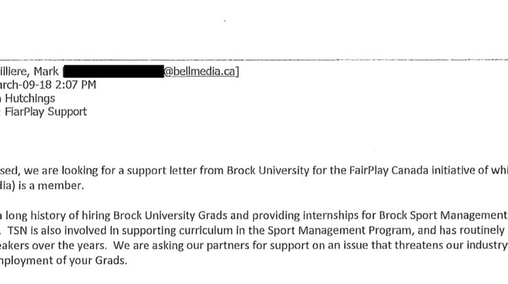 Bell request email, obtained under FIPPA from Brock University