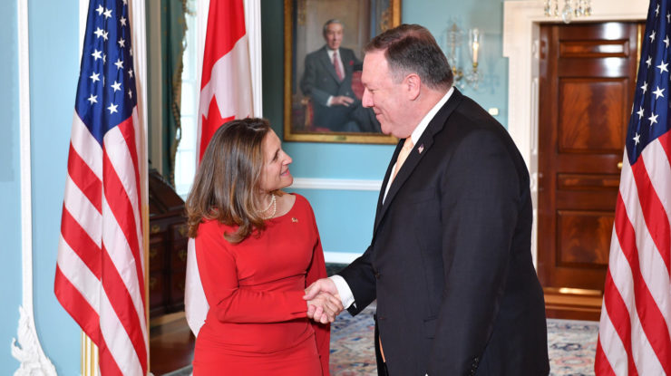 Secretary Pompeo Meets With Canadian Foreign Minister Freeland by US Department of State, US government work, https://flic.kr/p/24iZVEm