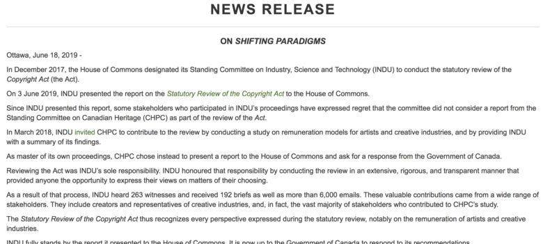 INDU release, https://www.ourcommons.ca/DocumentViewer/en/42-1/INDU/news-release/10581857